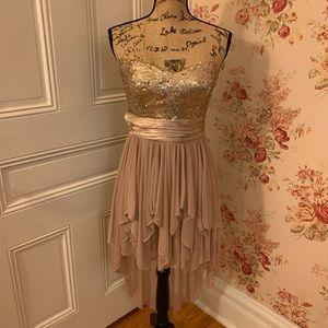 Trixxi Gold Sequin High-Low Cocktail Dress
